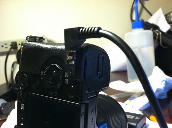 How to modify the Sony Nex 7 Compact System Camera to have a hardwire shutter release jack step 12