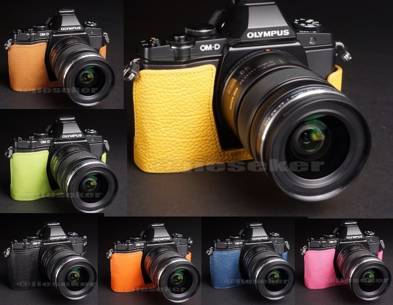 Half Leather Case for Olympus OM-D EM-5 Micro Four Thirds Camera Available in Several Colors