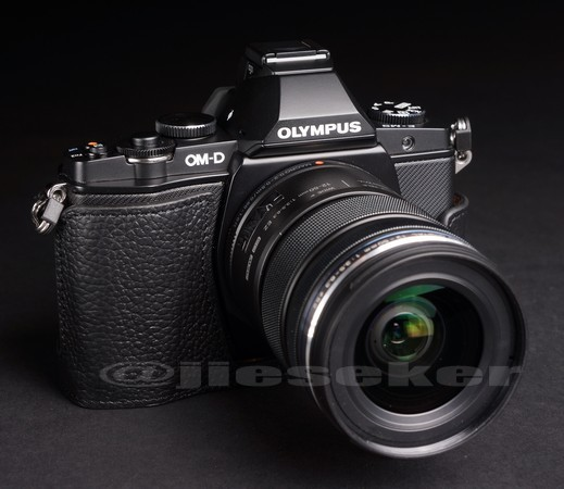 Half Leather Case for Olympus OM-D EM-5 Micro Four Thirds Camera Black Color