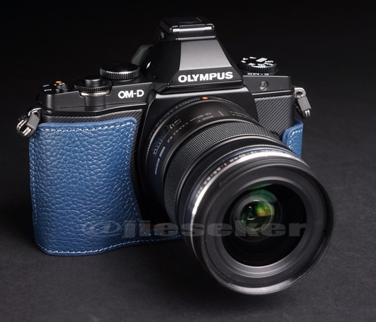 Half Leather Case for Olympus OM-D EM-5 Micro Four Thirds Camera Blue Color