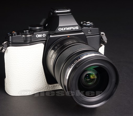 Half Leather Case for Olympus OM-D EM-5 Micro Four Thirds Camera White Color