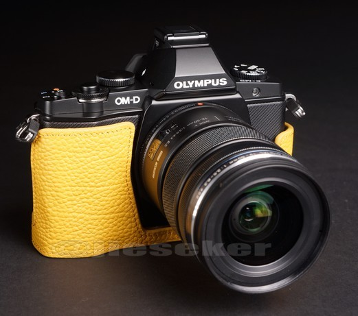 Half Leather Case for Olympus OM-D EM-5 Micro Four Thirds Camera Yellow Color