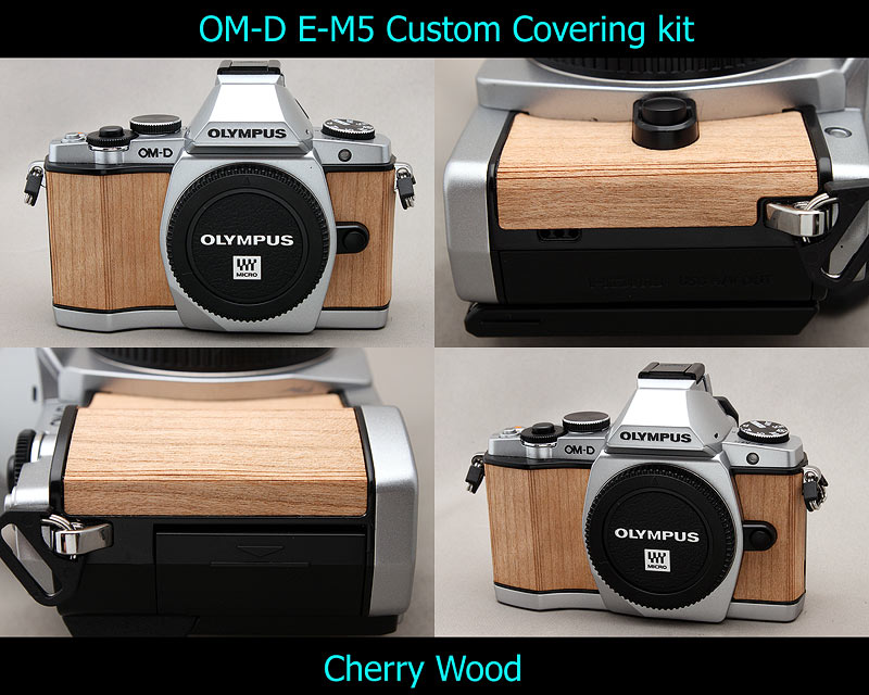 Olympus OM-D E-M5 Aki-Asahi Custom Camera Covering Kit Cherry Wood