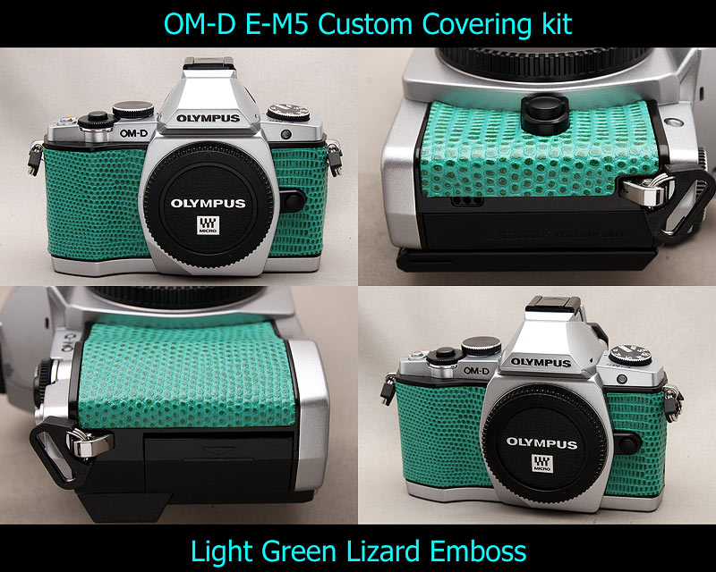 Olympus OM-D E-M5 Aki-Asahi Custom Camera Covering Kit Light Green Lizard Emboss