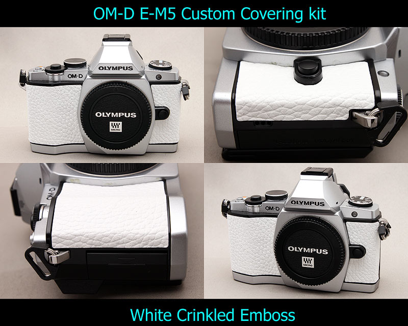 Olympus OM-D E-M5 Aki-Asahi Custom Camera Covering Kit White Wrinkled Emboss