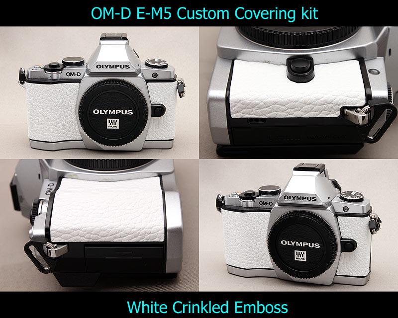 Olympus OM-D E-M5 Aki-Asahi Custom Camera Covering Kit White Wrinkled Emboss