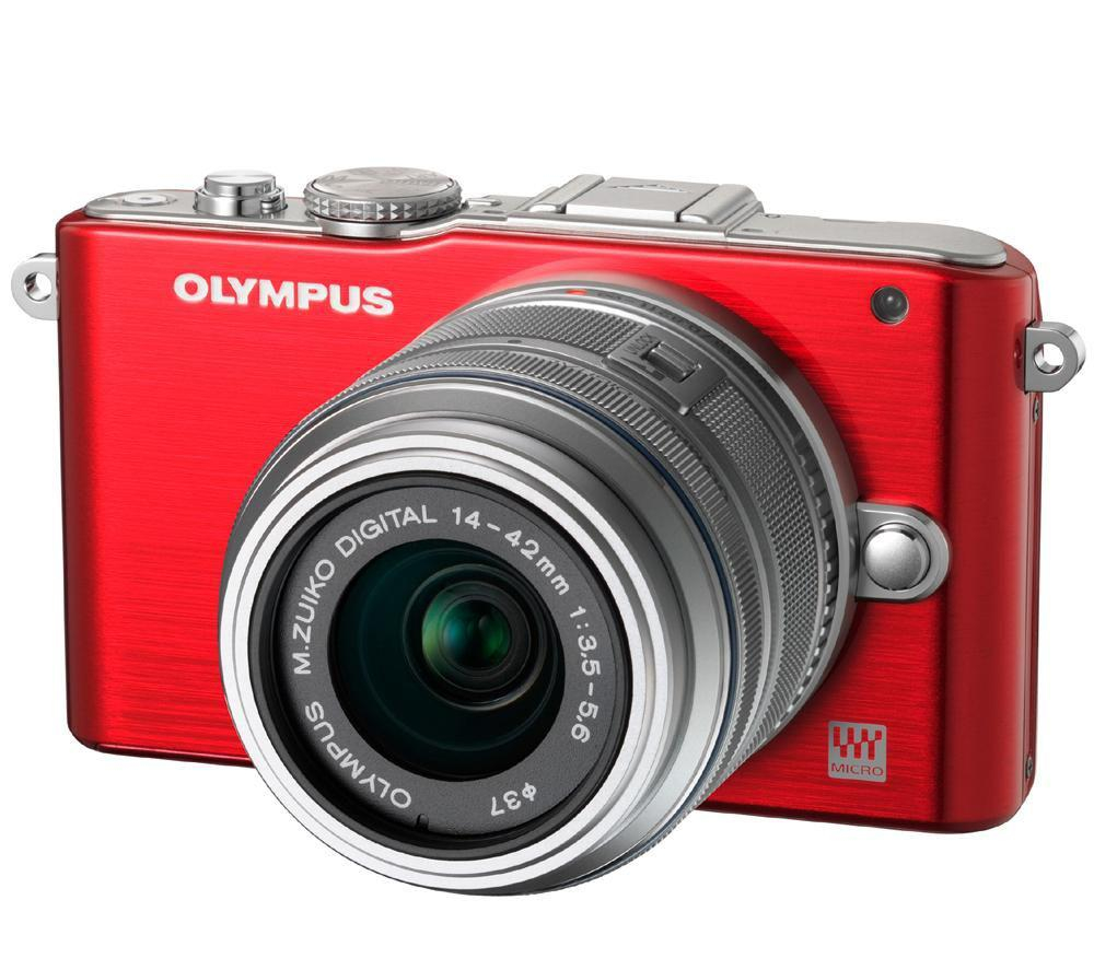 Olympus PEN E-PL3 Red Body 12.3 Megapixel Compact System Camera with Micro Four Thirds Sensor and 3X Optical Zoom 14-42mm kit lens