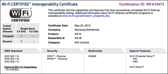Samsung NX-R Compact System Camera Wifi Interoperability Certificate