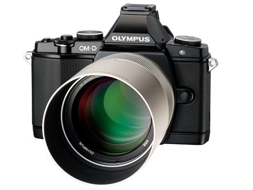 Olympus 75mm F1.8 lens with lens hood and Olympus OM-D E-M5 Micro Four Thirds Camera