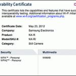 Samsung NX-R Compact System Camera Wifi Interoperability Certificate